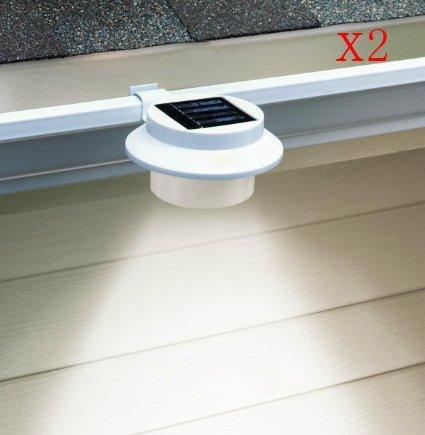 2 pack 3 LED Outdoor Solar Powered LED Gutter Light Fence Roof Gutter Garden Yard Wall Lamp