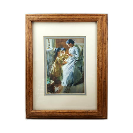 Oak and Art Inc. Victorian Mother Sitting With Children Print In 11.5