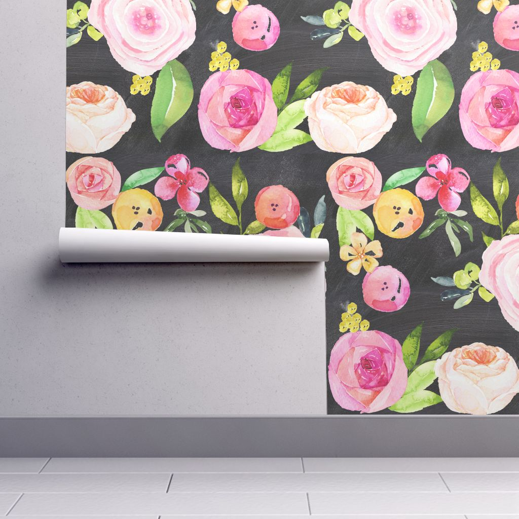 Wallpaper Roll or Sample: Chalkboard Floral Chalkboard Watercolor Painting