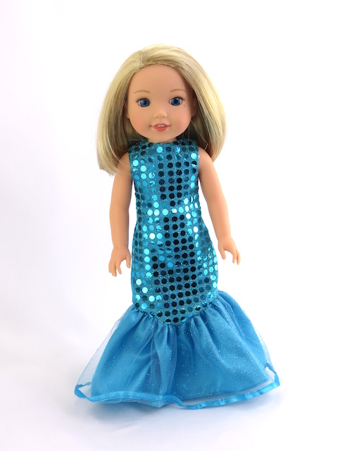 "Teal Sequin Mermaid Dress| Fits 14"" Wellie Wisher Dolls 