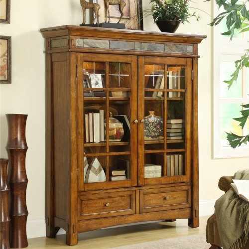 Riverside Furniture Craftsman Home Door Bookcase in Americana Oak