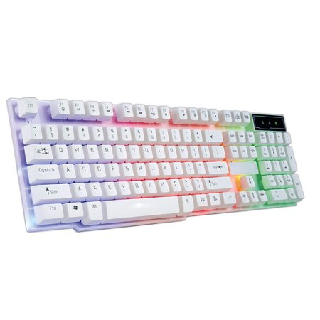 Outtop Colorful Crack LED Illuminated Backlit USB Wired PC Rainbow Gaming  Keyboard
