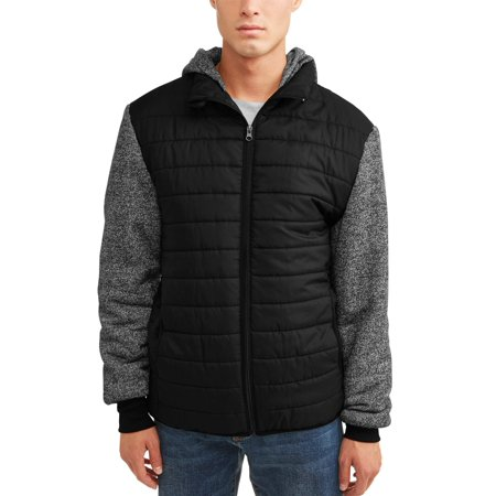 Men's Ultra Light Puffer Vest With Fleece Sleeves and Hood, Up to Size 5XL - Woody Vest