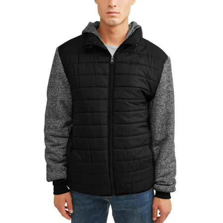 Men's Ultra Light Puffer Vest With Fleece Sleeves and Hood, Up to Size (Castelli Mens Vest)
