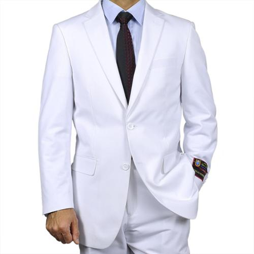 Men's White Two-button Suit White-40S / 34 Waist