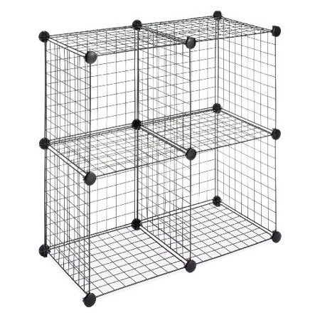 Stackable Storage Shelves (Whitmor Storage Cubes - Stackable Interlocking Wire Shelves -Black (Set of 4) )