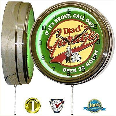 Dads Garage 15 Neon Light Wall Clock Man Cave Workshop Tin Metal Sign Green