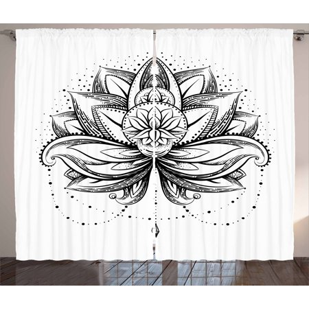 Lotus Curtains 2 Panels Set, Tribal Tattoo Style Lotus Petal with Dots Shadow Ornamental Indian Ethnic Icon, Window Drapes for Living Room Bedroom, 108W X 84L Inches, Seal Brown White, by Ambesonne