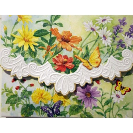 Carol's Rose Garden Spring Meadow Blank 10 Card Set Portfolio, 10 embossed blank cards with matching envelopes By Carol Wilson Fine