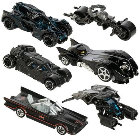 Hot Wheels Cars Set (6 Pack) DC Comics Batman Batmobile Die-Cast Cars Collectibles Toys Kids Adults Toy ()