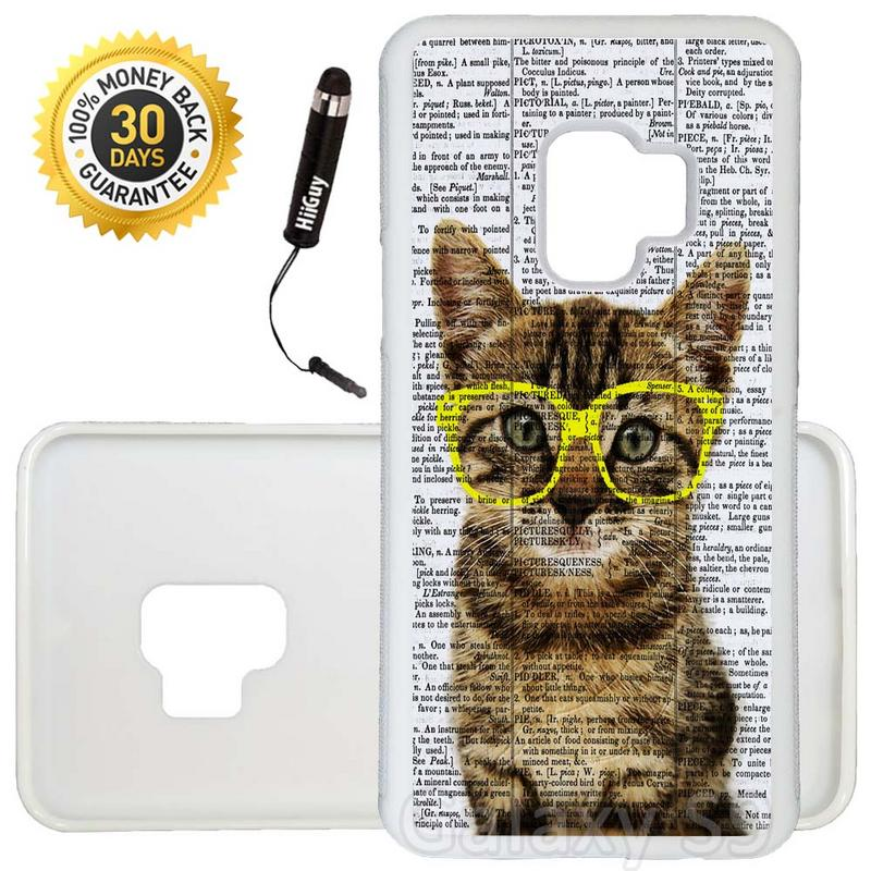 Custom Galaxy S9 Case (Cute Kitty Yellow Glasses) Edge-to-Edge Rubber White Cover Ultra Slim | Lightweight | Includes Stylus Pen by Innosub