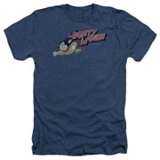 Trevco Mighty Mouse-Mighty Retro - Adult Heather Tee - Navy, Large