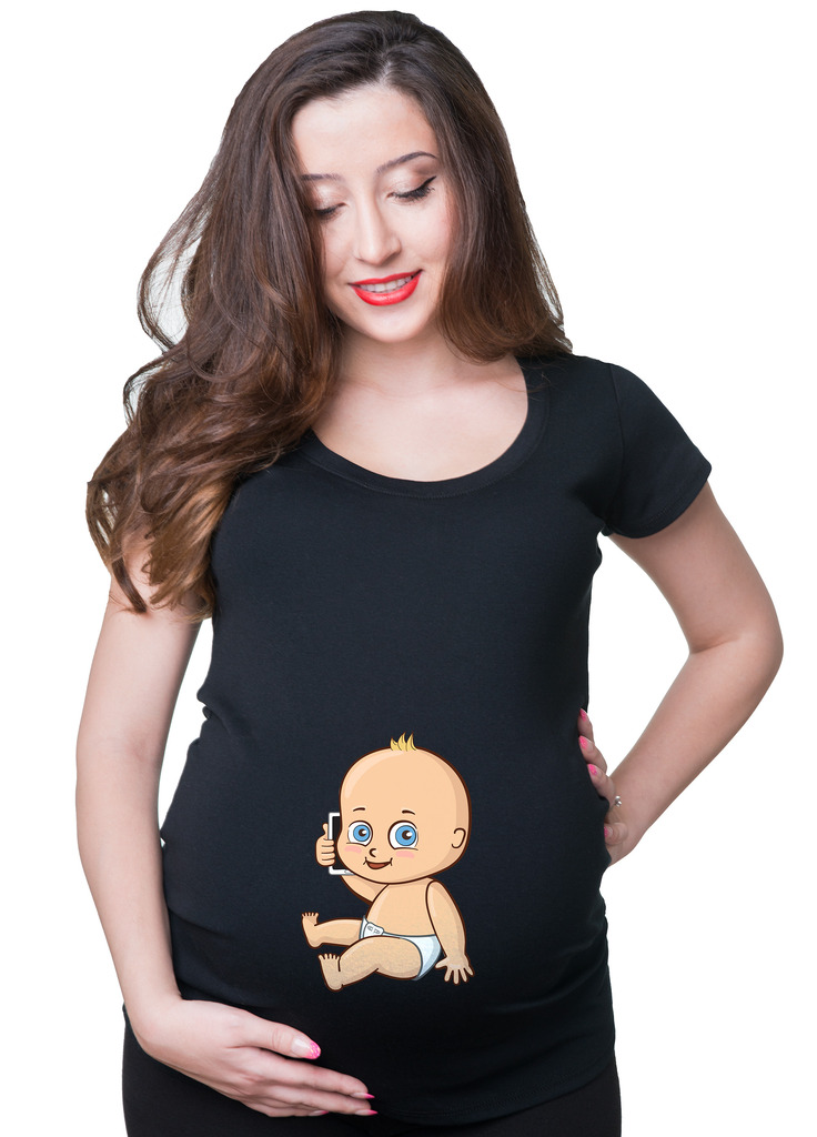 baby with phone maternity tee shirt