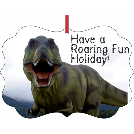 Dinosaur Ornaments Christmas - T-Rex Dino Have a Roaring Fun Holiday! Elegant Aluminum SemiGloss Christmas Ornament Tree Decoration - Unique Modern Novelty Tree Décor - Fun Christmas Ornaments