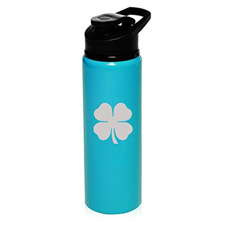 25 oz Aluminum Sports Water Travel Bottle 4 Leaf Clover Shamrock (Light-Blue)