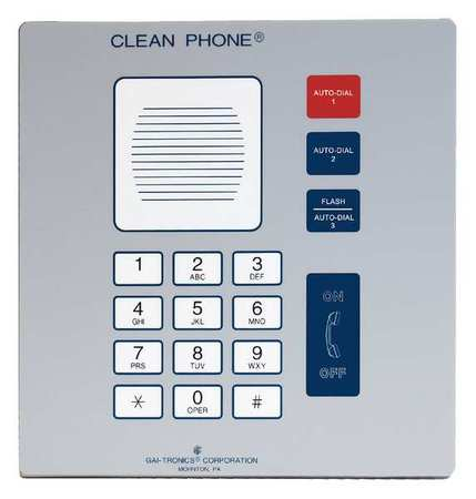 HUBBELL GAI-TRONICS Cleanroom Telephone, Cordless, Color Gray, 295-001F