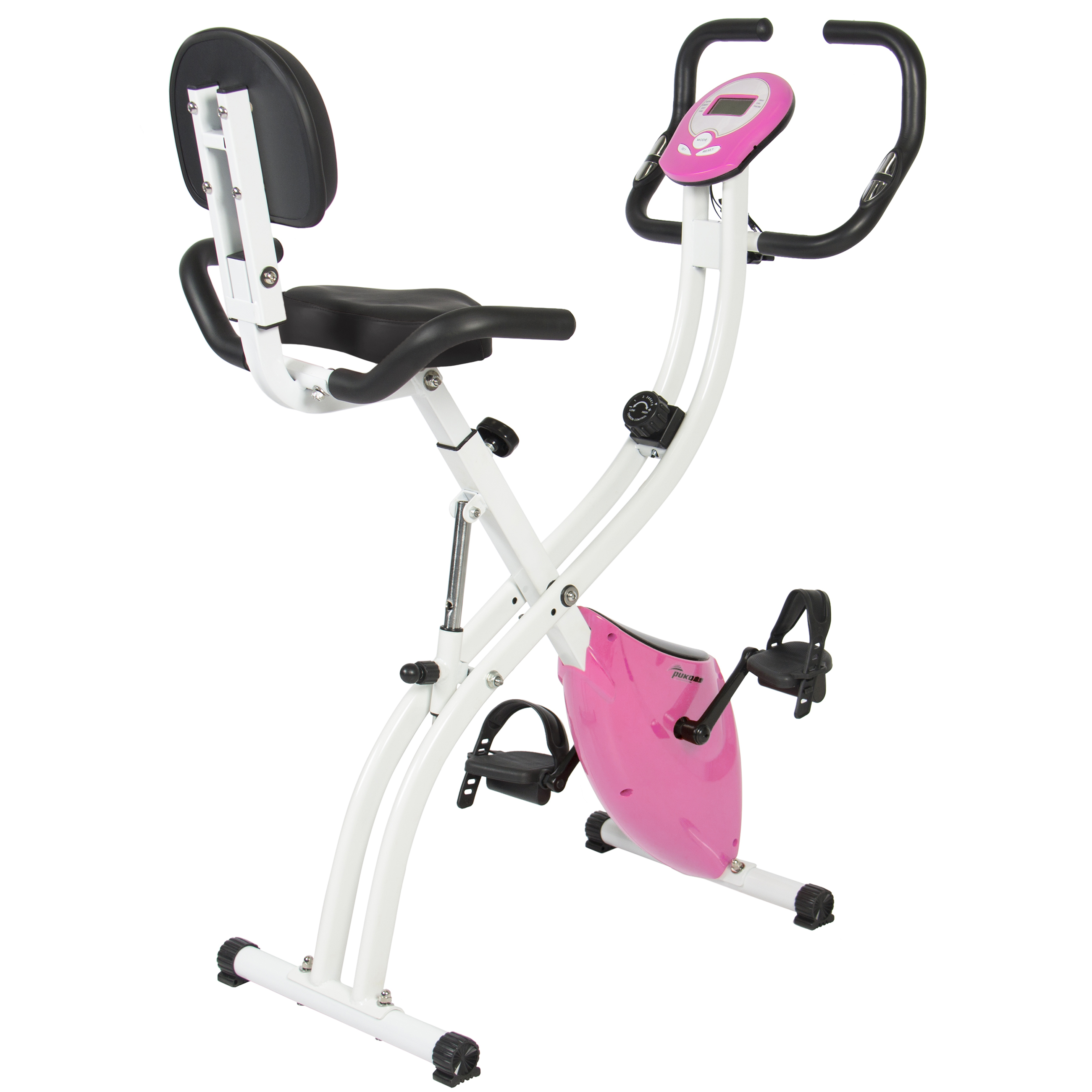 Best Choice Products Folding Adjustable Magnetic Upright Exercise Bike Fitness Upgraded Machine (Pink) by