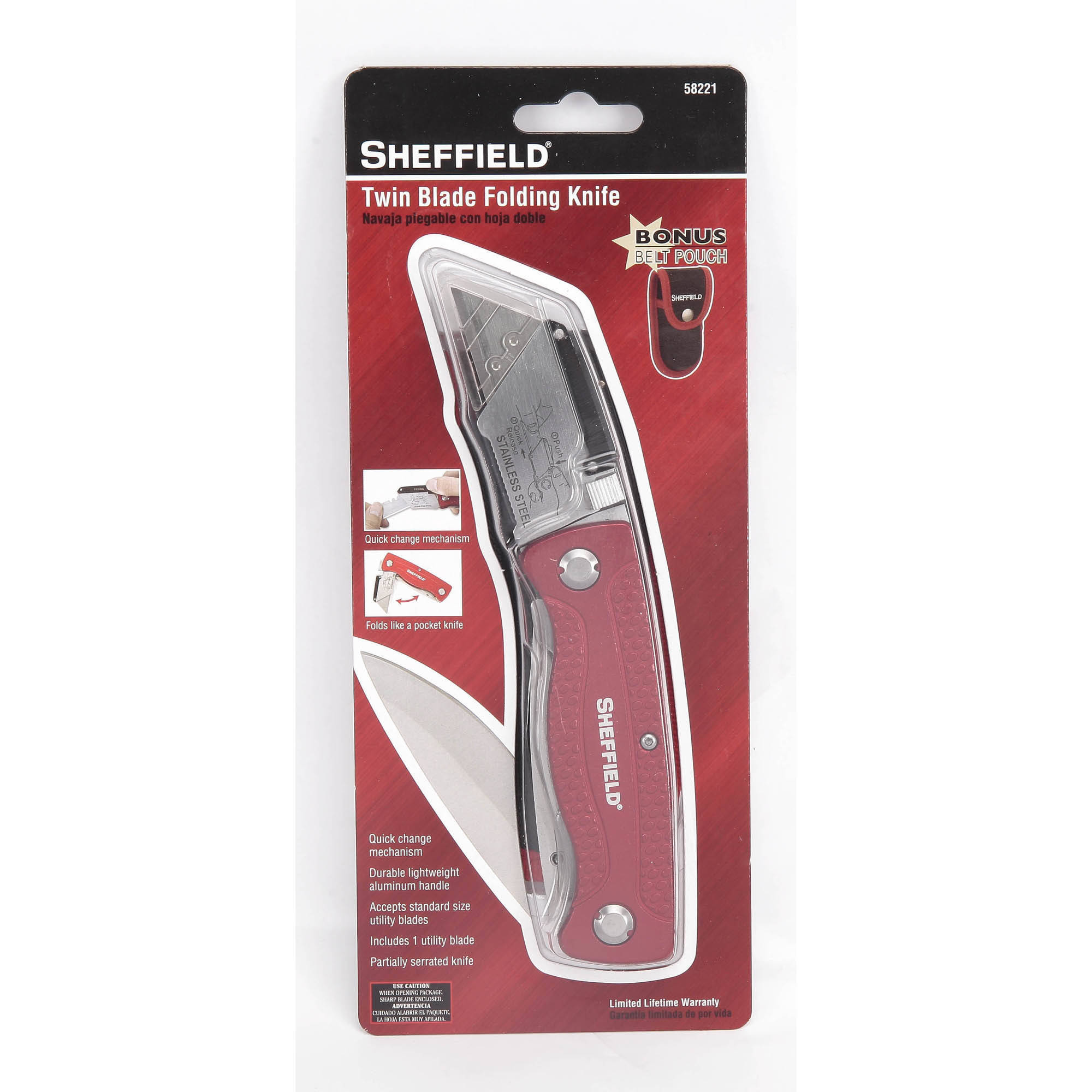 Sheffield Twin-Blade Utility Knife with Belt Pouch