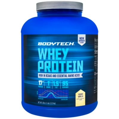 BodyTech Whey Protein Powder  With 17 Grams of Protein per Serving  Amino Acids  Ideal for PostWorkout Muscle Building, Contains Milk  Soy  Vanilla (5