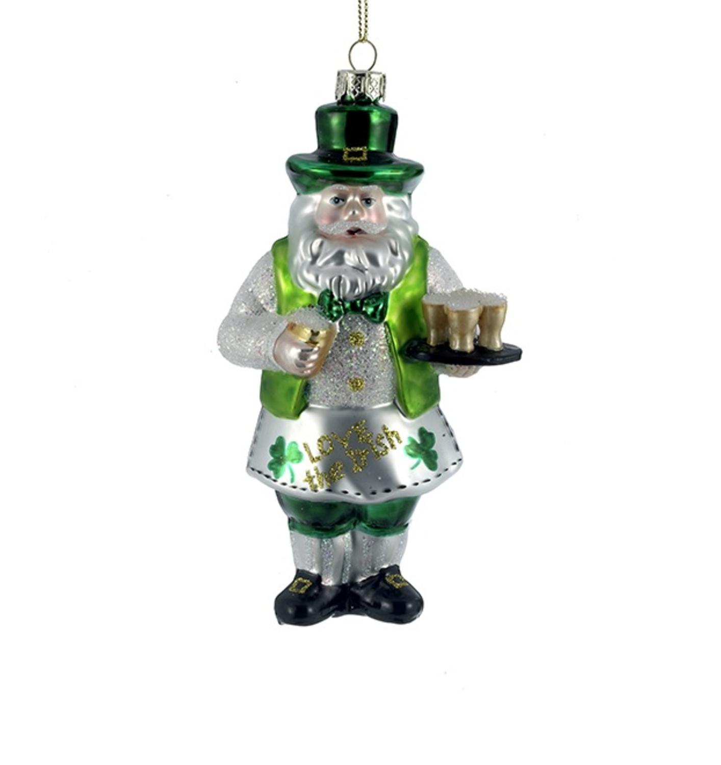 "6"" Luck of the Irish Holiday Santa Serving Beer Christmas Ornament"