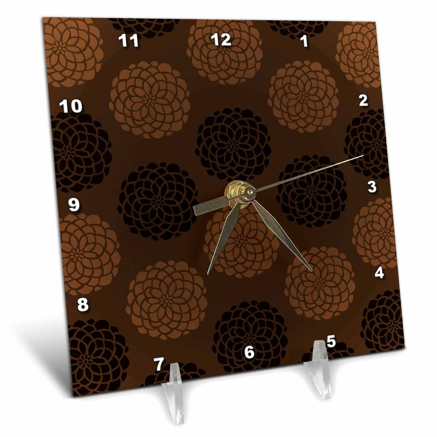 3dRose Contemporary Light and Dark Brown Large Mums Flower Pattern, Desk Clock, 6 by 6-inch by 3dRose