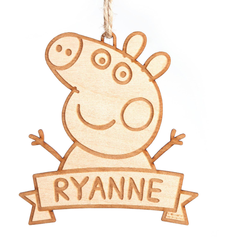 Personalized Peppa Pig Wood Ornament