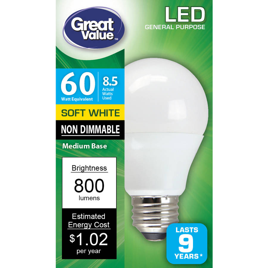 Great Value LED Light Bulbs 8.5W, 60W Equivalent, Soft White, 10K, 4-Pack