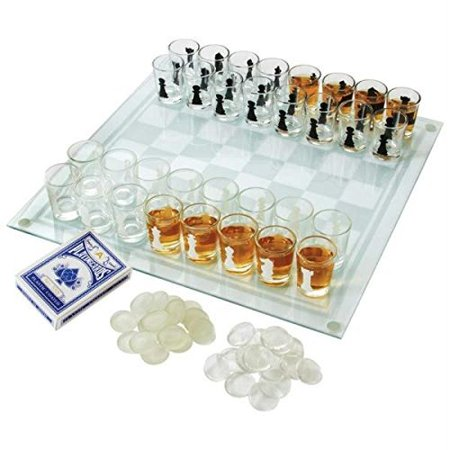 Bnfusa Maxam 3-in-1 Shot Glass Chess Set - SPCHESS2 (Bulk Glass Shot Glasses)
