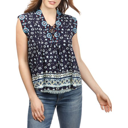 0f625300fd27 Lucky Brand - Floral Embroidered Top - Walmart.com