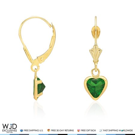 14K Solid Yellow Gold Bezel Set Emerald Heart Leverback Dangle Earrings