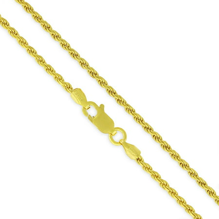 Gold Italian Heart - Sterling Silver Italian 2mm Rope Diamond-Cut Link Solid 925 Yellow Gold Plated Twisted Chain Necklace 16