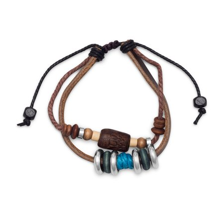 Rustic Bracelet Has A 6Mm Brown Leather Strand Wood Wheels 3 5Mm Silver Tone Beads