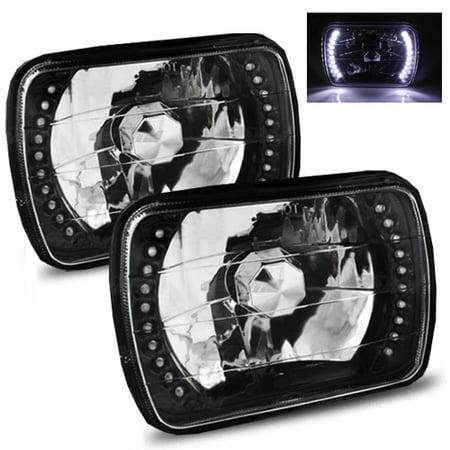 1996-2012 Chevy Express 1500 2500 3500 7x6 H6052/H6054 Semi-Sealed Beam Black Diamond White LED  Headlights