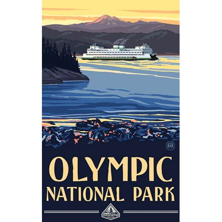 Olympic Art Poster Sticker Decal(rv national park hike) Size: 3 x 5