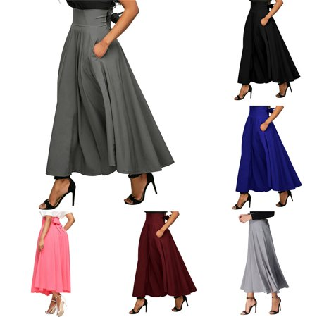 Vader Side Skirts - Voomwa High-waisted Pleated Skirt Side Slit Pocket Flared Skirt with Belt