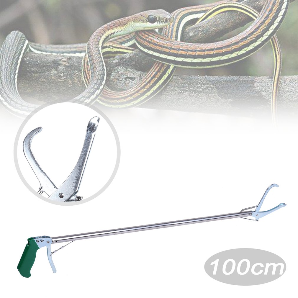 100cm Self-lock Anti-ski Handle Snake Tongs Stick Grabber Reptile Rattle Catcher Zigzag Wide Jaw Pick-up Handling Tool by