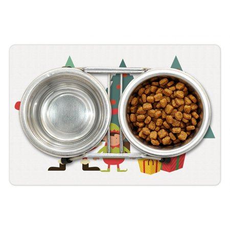 Elf Pet Mat for Food and Water, Santa Claus Little Dwarf and Presents with Christmas Trees on the Background, Non-Slip Rubber Mat for Dogs and Cats, 18