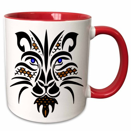 Lions Mesh - 3dRose Black, Copper, Blue Mesh Lion Outline - Two Tone Red Mug, 11-ounce