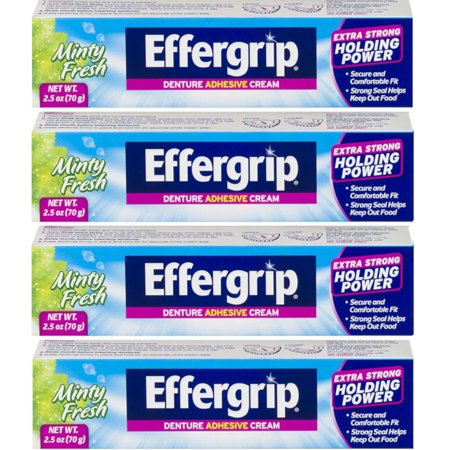 4 Pack Effergrip Extra Strong Denture Adhesive Cream Zinc Free 2.5oz (Effergrip Denture Adhesive Cream)