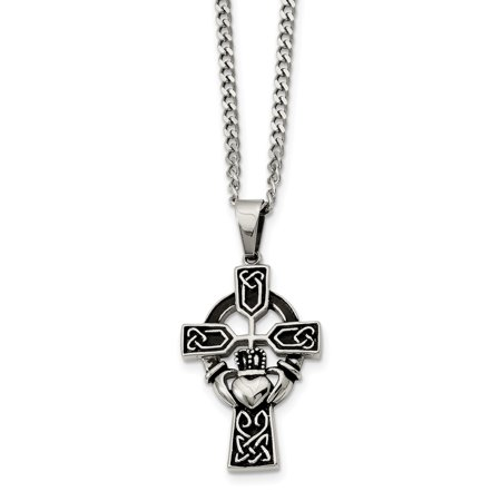 Stainless Steel Antiqued Claddagh Pendant Necklace 20in - image 3 de 3