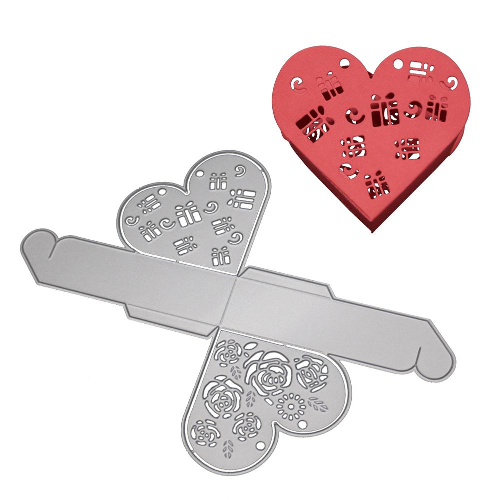 HiCoup Hollow Heart Shape Xmas Gift Present Box Carbon Steel Cutting Die DIY Stencil