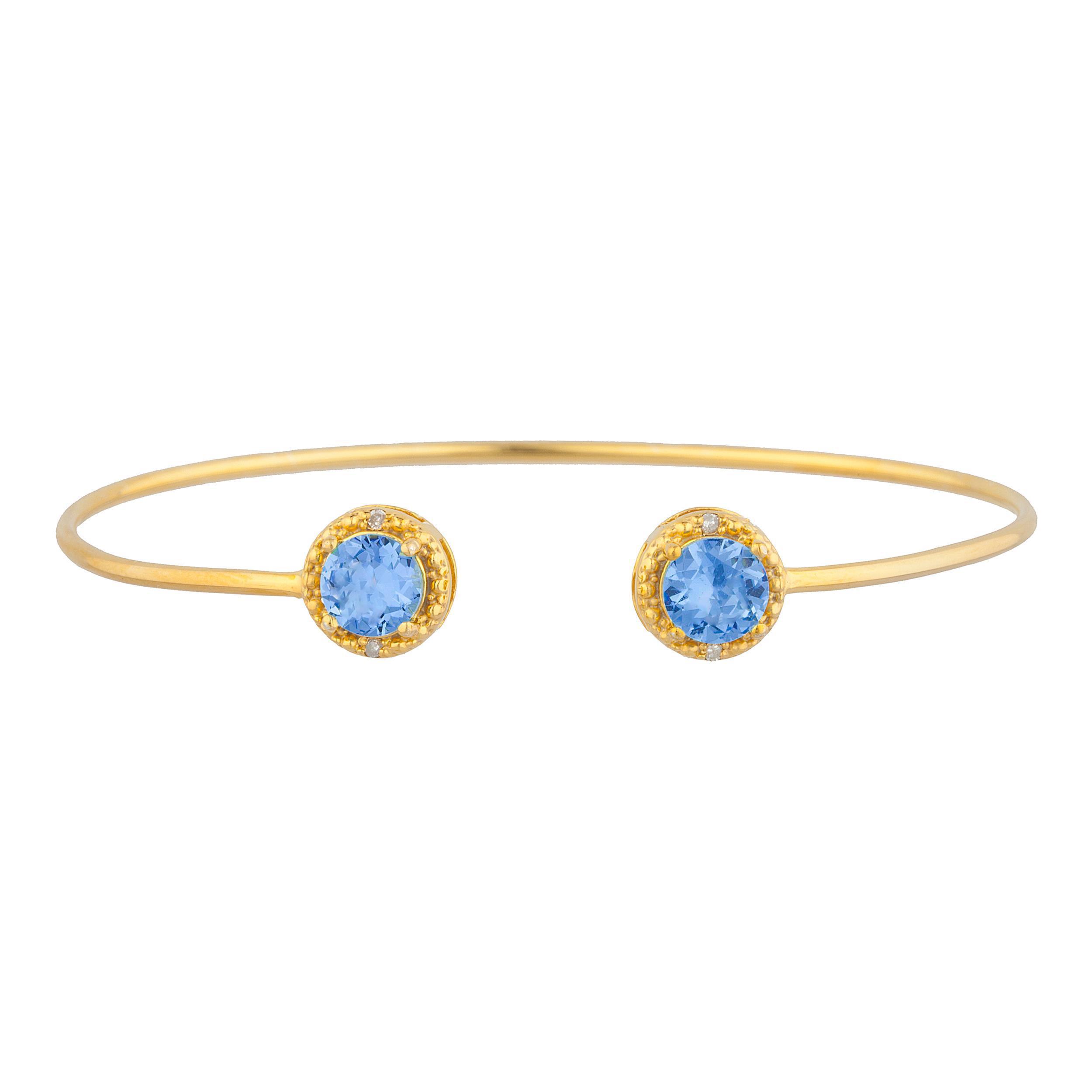 14Kt Yellow Gold Plated Tanzanite & Diamond Round Bangle Bracelet by Elizabeth Jewelry Inc
