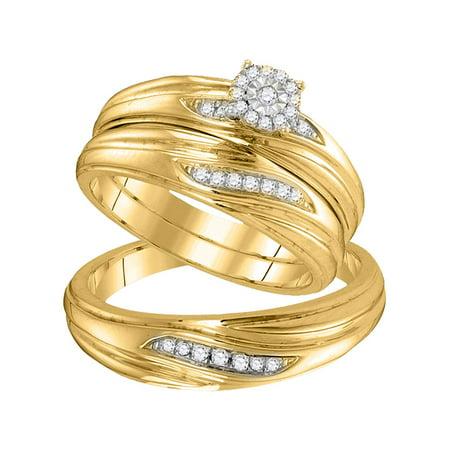 10k Yellow Gold Diamond His Hers Matching Trio Wedding