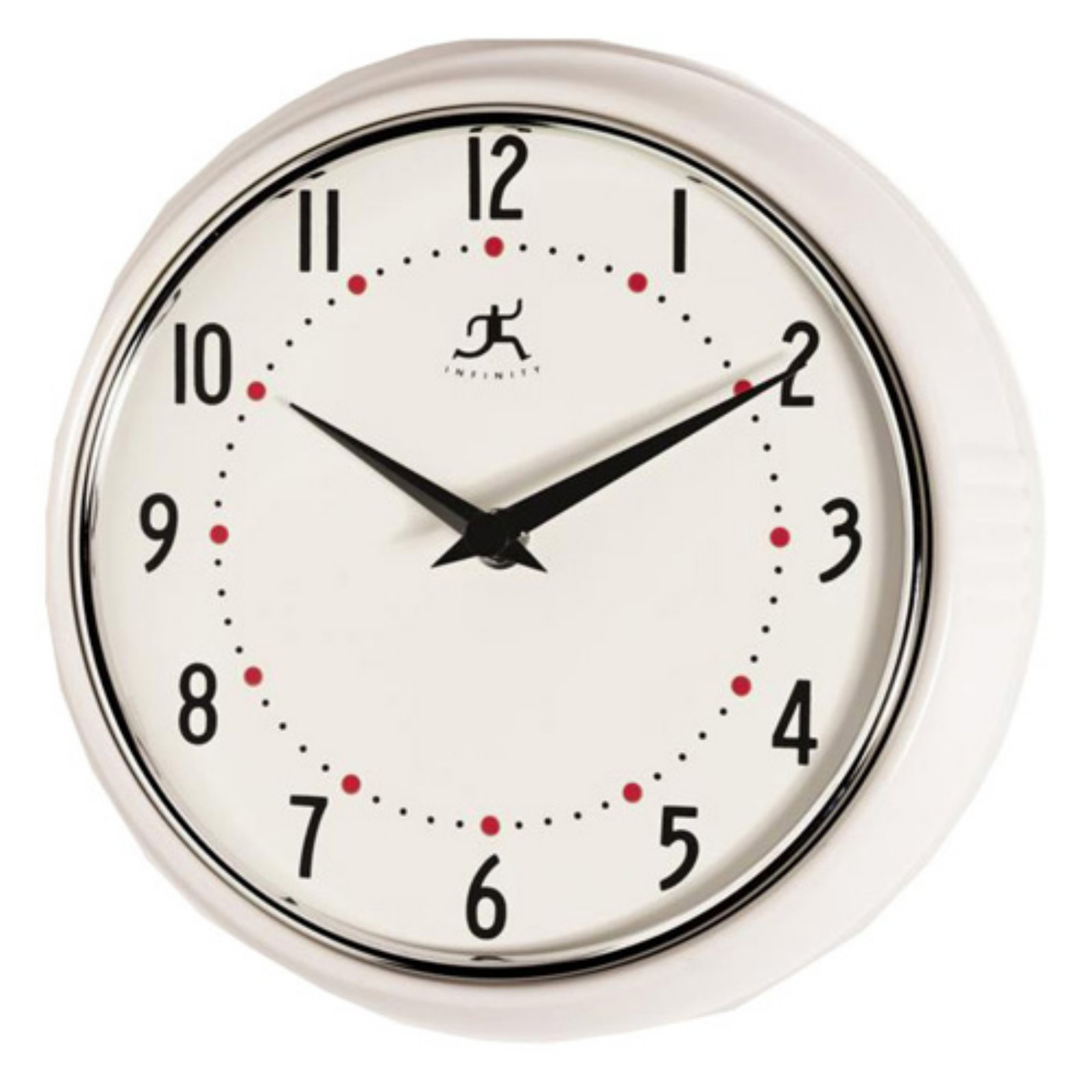 Infinity Instruments-White Retro Round Metal 9.5 in. Wall Clock