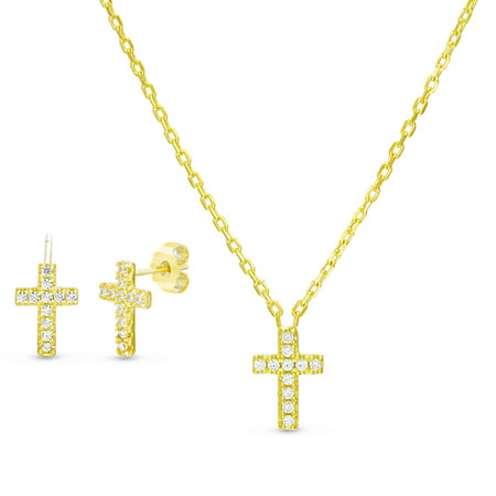 Lesa Michele Women's White Cubic Zirconia Cross Stud Earring and Matching Pendant 16