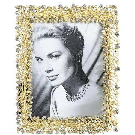 Elegant Crystal Pearl Bold Gold Bejeweled Photo Frame (5