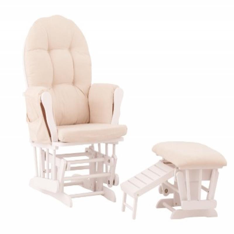 Status, Roma Glider Rocking Chair Nursing Foot Stool Ottoman, White/ Beige