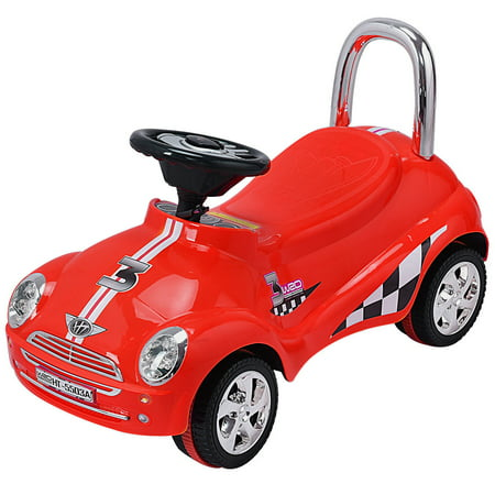 GHP Red Plastic Kids Toddlers Ride On Gliding Push Car with Sound Effects &  Music