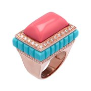 Moneglia Ring with Cubic Zirconia in 18kt Rose Gold-Plated Sterling Silver