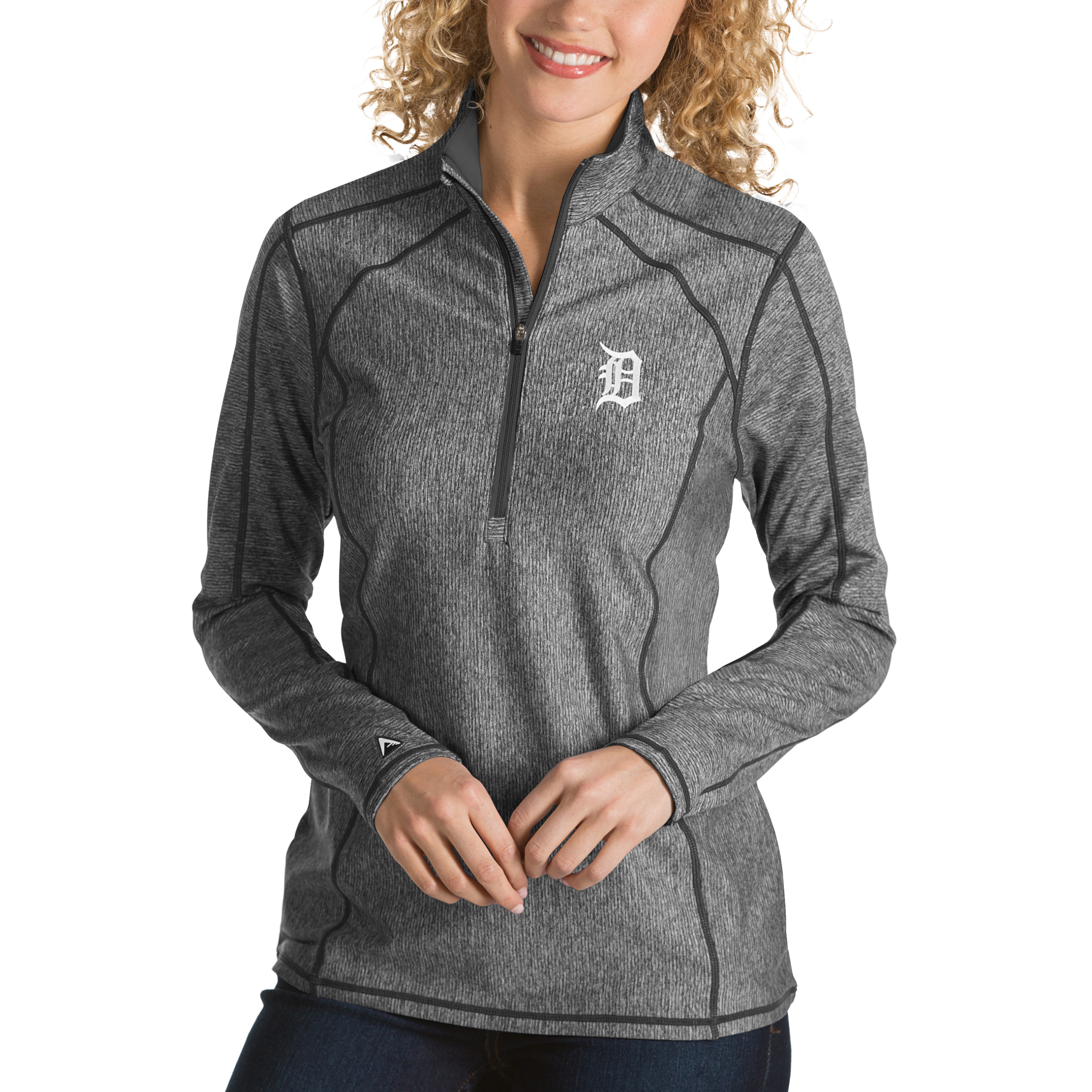 Detroit Tigers Antigua Women's Tempo Desert Dry 1/4-Zip Pullover Jacket - Heathered Charcoal